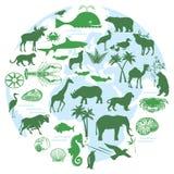 Dieren en biodiversiteit stock illustratie