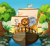 Dieren en boot stock illustratie