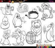 Dieren en voedsel kleurende pagina Stock Foto