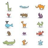 Dieren gekleurde pictogrammen Stock Afbeelding