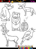 Dieren geplaatst beeldverhaal kleurende pagina Royalty-vrije Stock Foto