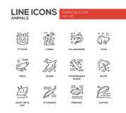 Dieren - geplaatste de pictogrammen van het lijnontwerp royalty-vrije illustratie