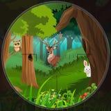 Dieren in het hout royalty-vrije illustratie