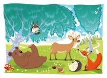 Dieren in het hout. Stock Foto's