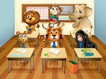 Dieren in klaslokaal Royalty-vrije Stock Foto's