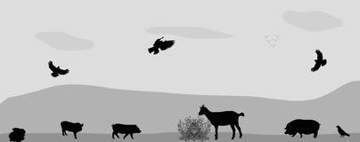 Dieren op het landbouwbedrijf Vector illustratie Stock Afbeelding