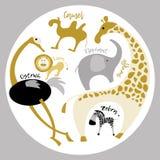 Dieren van Afrika De reeks van de inzameling Giraf, kameel, olifant, leeuw, gestreepte struisvogel, Stock Foto