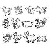 12 dieren van Chinese Kalender De stijl van het beeldverhaal Stock Afbeelding