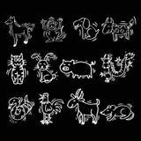 12 dieren van Chinese Kalender De stijl van het beeldverhaal Royalty-vrije Stock Afbeeldingen