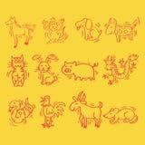 12 dieren van Chinese Kalender De stijl van het beeldverhaal Stock Foto's
