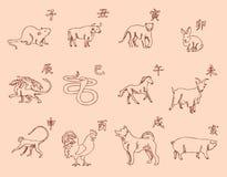 12 dieren van de Chinese dierenriemkalender De symbolen van het Nieuwjaar, Oostelijke kalender Schetspotlood Het trekken door han Royalty-vrije Stock Afbeeldingen