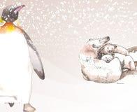 Dieren van de Zuidpool in waterverf wordt uitgevoerd die Stock Afbeelding