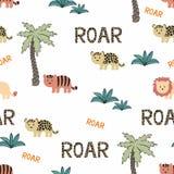 Dieren Wild Afrika Naadloze Achtergrond stock illustratie