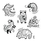 Dierenalfabet A - E voor kinderen Vector kleurende pagina Stock Foto's