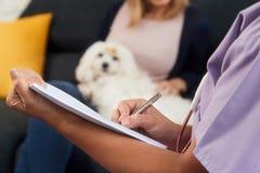 Dierenarts het Schrijven Gezondheidszorgnota voor de Geneeskunde van het Hondvoorschrift Royalty-vrije Stock Afbeelding