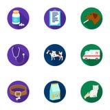 Dierenartskliniek Behandeling van zieke dieren Het ziekenhuis voor dieren Het pictogram van de dierenartskliniek in vastgestelde  Stock Fotografie