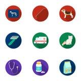 Dierenartskliniek Behandeling van zieke dieren Het ziekenhuis voor dieren Het pictogram van de dierenartskliniek in vastgestelde  Royalty-vrije Stock Afbeeldingen