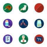 Dierenartskliniek Behandeling van zieke dieren Het ziekenhuis voor dieren Het pictogram van de dierenartskliniek in vastgestelde  Royalty-vrije Stock Foto's
