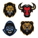 Dierenemblemen De leeuw, stier, gorilla, draagt Stock Foto
