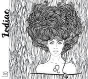 Dierenriem: Illustratie van het teken van de Leeuwdierenriem als mooi meisje Vec royalty-vrije illustratie