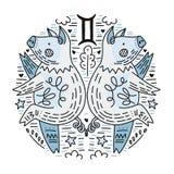 Dierenriem Signes Tweeling royalty-vrije illustratie