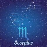 Dierenriemconstellatie Scorpius - positie van sterren en hun namen Royalty-vrije Stock Foto