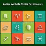 Dierenriemsymbolen. Vector vlakke geplaatste pictogrammen Stock Afbeelding