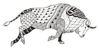 Dierenriemteken - Stier stier Vector illustratie Zentanglenaalden Stock Foto