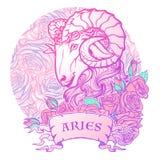 Dierenriemteken van Ram met een decoratief art. van het de Astrologieconcept van kaderrozen Tatoegering Design royalty-vrije illustratie
