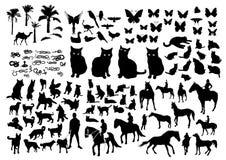 Dierensilhouetten Royalty-vrije Stock Afbeeldingen