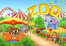 dierentuin De speelplaats van jonge geitjes Reuzenrad bij night Vector illustratie vector illustratie