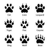 Dierenvoetafdrukken, pootdrukken Reeks verschillende dieren en roofdierenvoetafdrukken en sporen vector illustratie