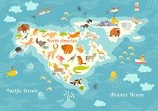 Dierenwereldkaart, Noord-Amerika Kleurrijke beeldverhaal vectorillustratie voor kinderen en jonge geitjes Stock Afbeeldingen