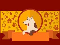 Dierenwinkelbanner met de vector van het hondbeeldverhaal Royalty-vrije Stock Fotografie