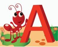 Dierlijk alfabet A Royalty-vrije Stock Foto