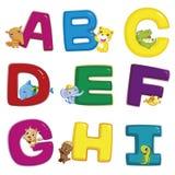 Dierlijk alfabet A aan I Stock Afbeelding