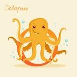 Dierlijk alfabet met octopus Stock Afbeeldingen