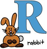 Dierlijk alfabet R (konijn) Stock Fotografie