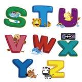 Dierlijk alfabet S aan Z Stock Foto's