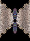 Dierlijk barok druk zwart geometrisch borduurwerk stock fotografie