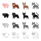 Dierlijk, binnenlands biggetje, en ander Webpictogram in beeldverhaalstijl Speelgoed, dier, het plaything, pictogrammen in vastge vector illustratie