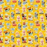 Dierlijk de chef-kok naadloos patroon van het beeldverhaal Stock Foto