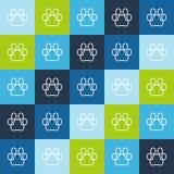 Dierlijk naadloos vectorpatroon van de pootsilhouet van lijnhuisdieren Royalty-vrije Stock Foto