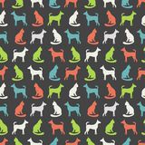 Dierlijk naadloos vectorpatroon van kat en hond Royalty-vrije Stock Foto's