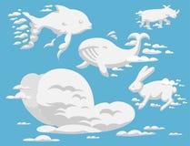 Dierlijk van de het patroon vectorillustratie van het wolkensilhouet van het de hemelbeeldverhaal abstract het milieu natuurlijk  royalty-vrije illustratie