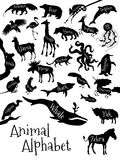 Dierlijke alfabetaffiche voor kinderen dieren Royalty-vrije Stock Foto
