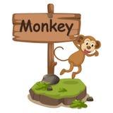 Dierlijke alfabetbrief M voor aap Stock Afbeelding