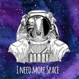 Dierlijke astronaut Horse, hoss, ridder, ros, courser dragend de ruimteachtergrond van de ruimtepakmelkweg met sterren en nevel vector illustratie