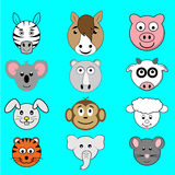 Dierlijke beeldverhaalgezichten Stock Foto