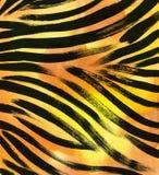 Dierlijke bontachtergrond gestreepte de waterverfhand getrokken achtergrond van het streep abstracte exotische bont De illustrati Stock Afbeelding